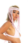 baby pink festival headpiece, macrame body jewellery