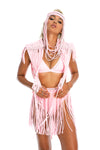 Baby pink boho goddess festival headpiece, handmade burning man costumes, macrame top + fringe skirt