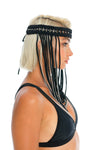 boho macrame headpiece, music festival jewellery