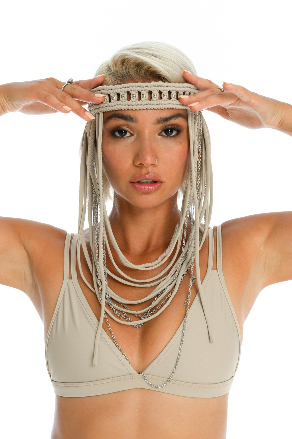 Boho hand-crafted nude headpiece, macrame festival body jewellery