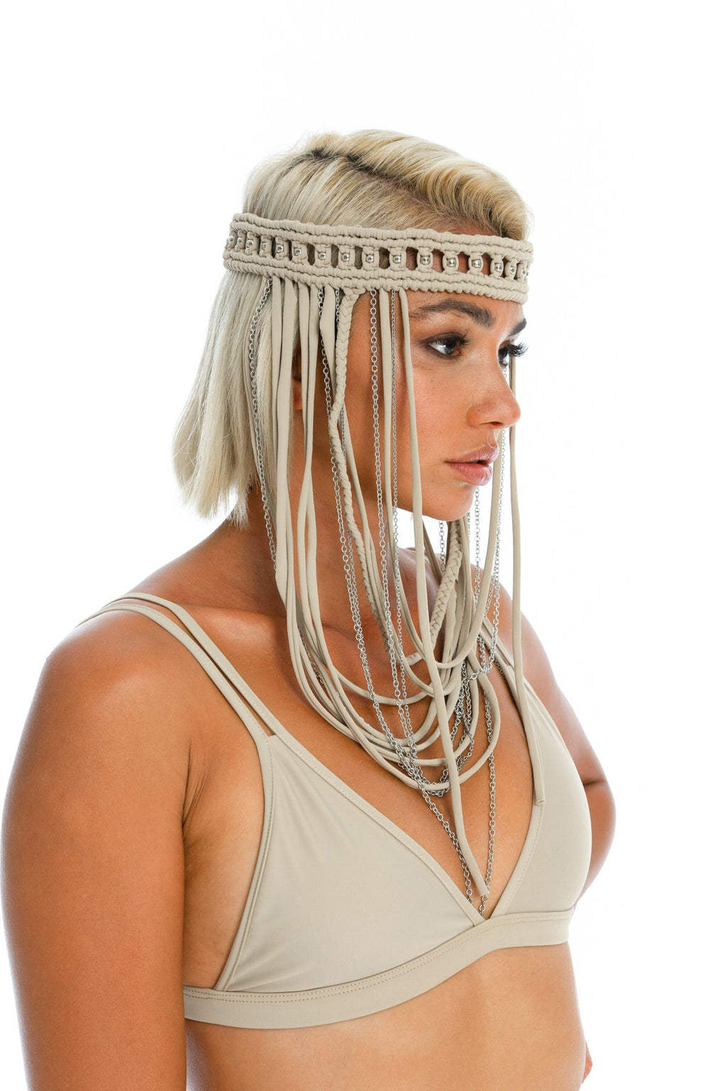 headpiece, handmade macrame boho festival headpiece - body jewellery
