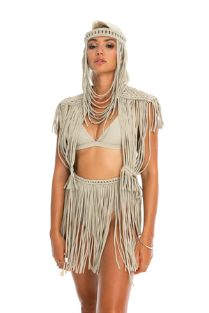 headpiece, handmade macrame boho festival body jewellery, top + fringe skirt