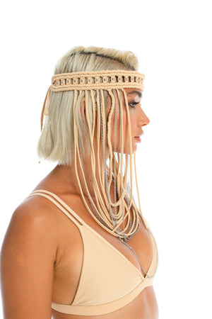 Boho hippie hand-crafted tan headpiece, burning man macrame festival body jewellery, triangle bikini top