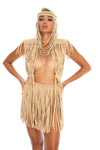boho goddess festival headpiece, handmade burning man costumes, macrame top + fringe skirt