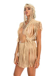 boho hippie festival headpiece, handmade burning man costumes, macrame top + fringe skirt