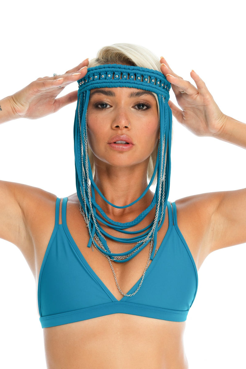 Boho hand-crafted teal headpiece, macrame festival body jewellery