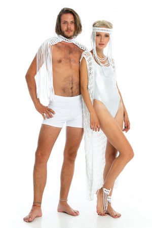 white boho goddess festival headpiece, handmade burning man costumes, epaulettes + crochet cardi