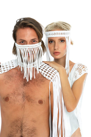 white macrame headpiece, boho festival face mask and epaulettes