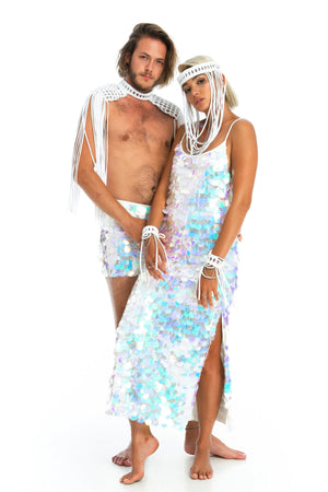 Festival headpiece, mens epaulettes ands sequin shorts, long sequin dress