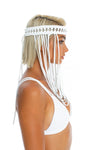 Boho hand-crafted white headpiece, macrame festival body jewellery