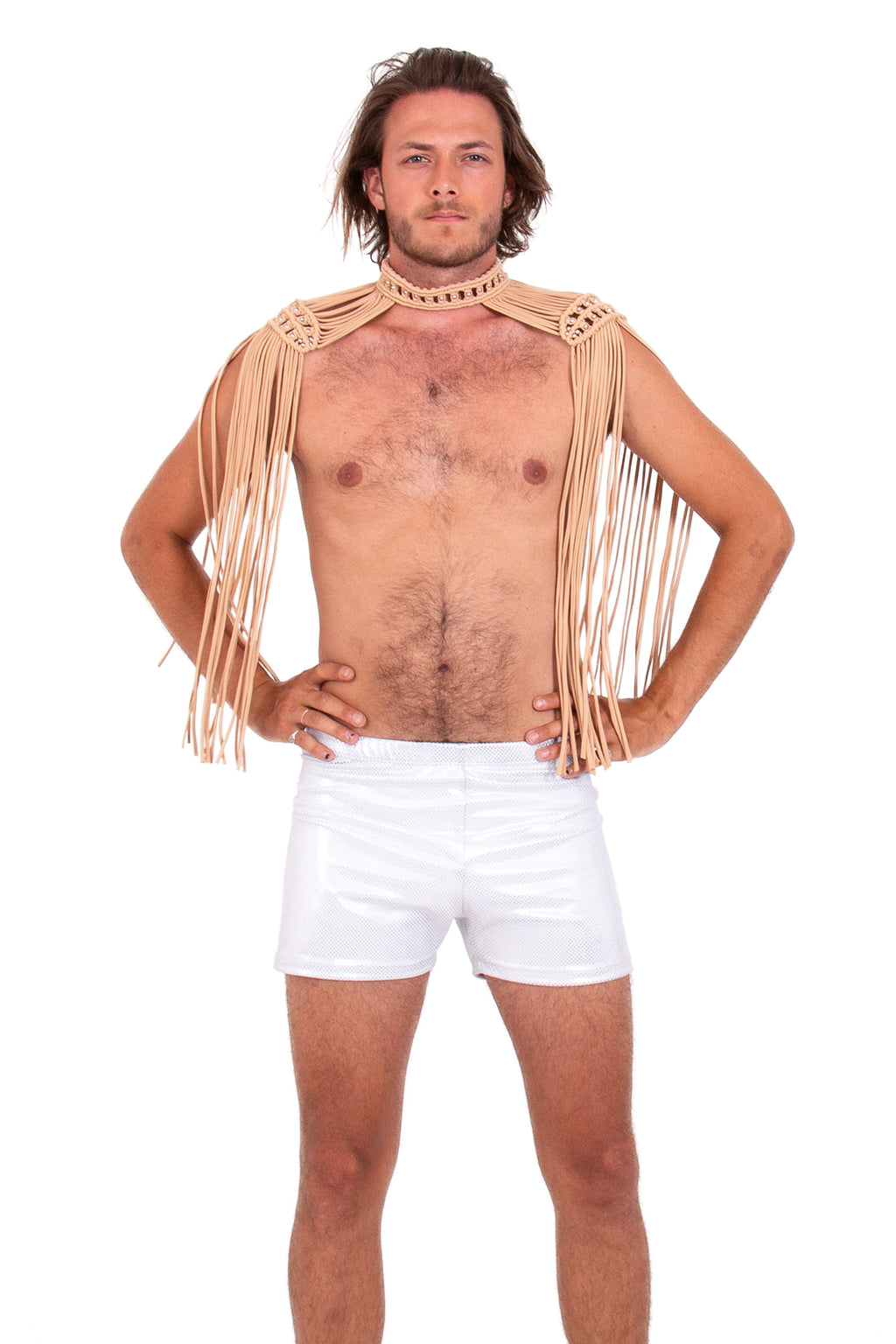 Sustainable mens epaulettes, handmade festival costume, sexy Burning Man shoulder piece top