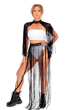 black flowy macrame maxi skirt, sexy boho burning man costume