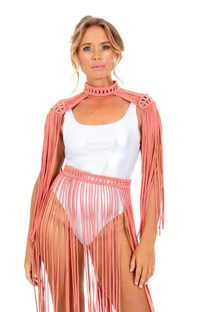Elegant Burning Man costume top, cute macrame tassel epaulettes, sexy rave outfit