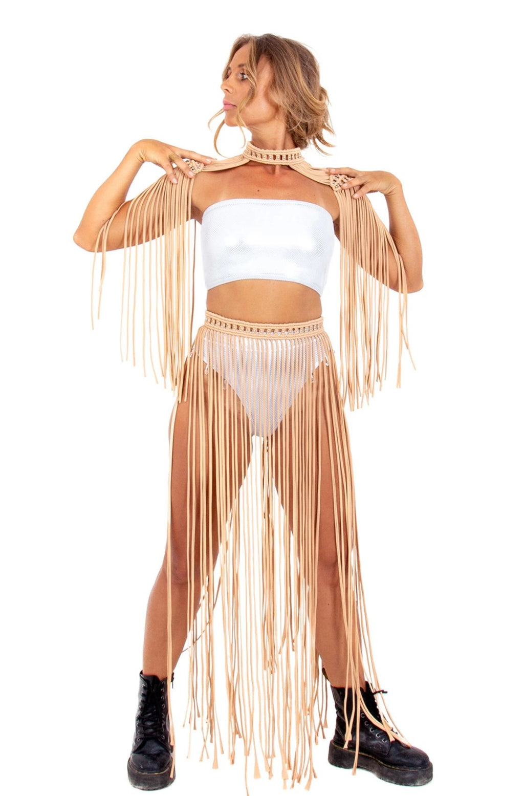 macrame fringe skirt, edm rave outfit party dress, plus size festival costume, burning man clothing