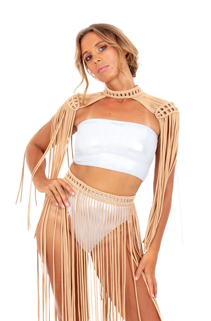 Tan boho festival epaulettes, stylish burning man costume top and fringe skirt