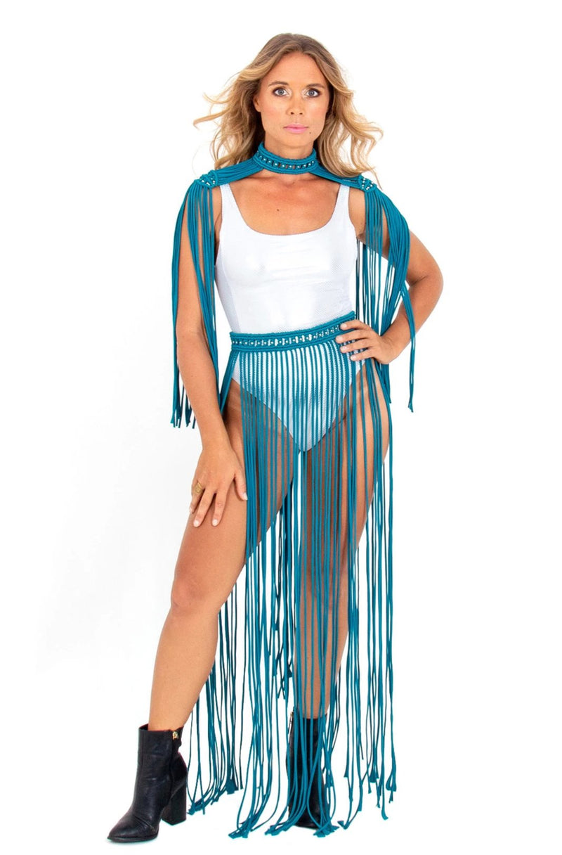 adjustable festival tassel skirt, sexy macrame edm rave clothing, plus size burning man outfits