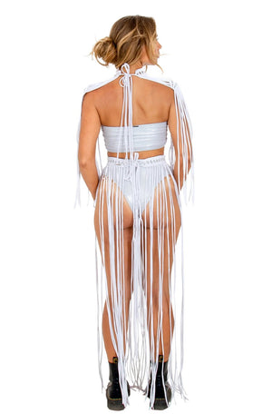 revealing bohemain long fringe skirt, unique rave outfit skirt, burning man costume