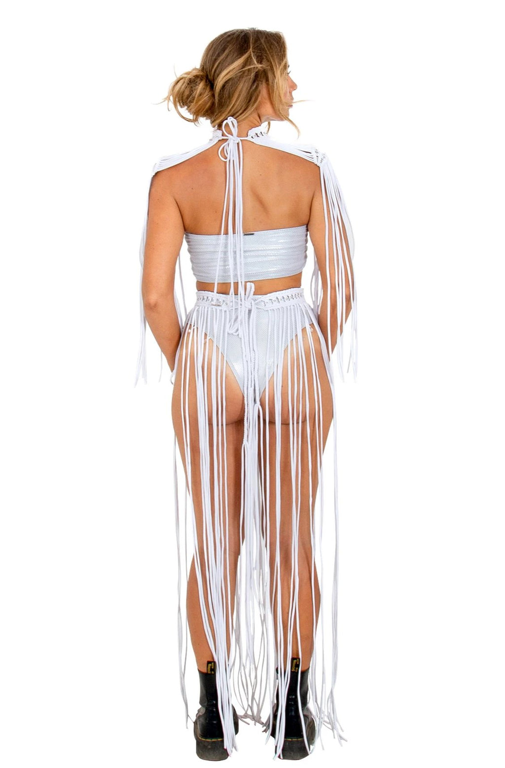 white macrame epaulettes, festival dress top, sexy Edm Rave outfit, burning man outfit