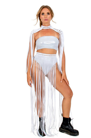 gypsy hippie fringe skirt, party dress set, epaulettes epaulette, burning man outfits