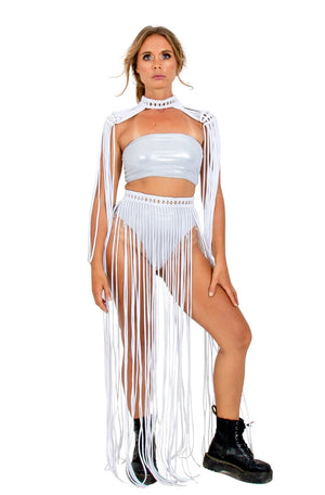 white handmade macrame epaulets, gender neutral tribal clothing, burning man costume