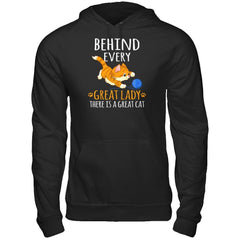 A Great Cat Behind Great Lady Gildan - Pullover Hoodie / Black / S Shirts