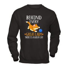 A Great Cat Behind Great Lady Gildan - Pullover Sweatshirt / Black / S Shirts