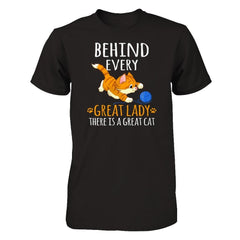A Great Cat Behind Great Lady Next Level - Unisex Fitted Tee / Black / XS Shirts