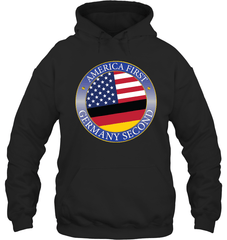 America First, Germany Second Gildan Heavy Blend Hoodie 8oz / Black / S Shirts