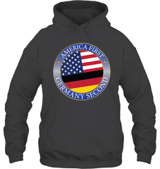 America First, Germany Second Gildan Heavy Blend Hoodie 8oz / Dark Heather / S Shirts