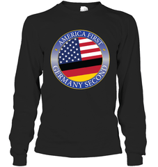 America First, Germany Second Gildan Long Sleeve T-Shirt / Black / S Shirts