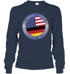America First, Germany Second Gildan Long Sleeve T-Shirt / Navy / S Shirts