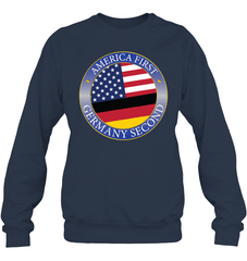 America First, Germany Second Heavy Blend Crewneck Sweatshirt / Navy / S Shirts