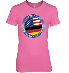 America First, Germany Second Next Level The Boyfriend Tee / Hot Pink / S Shirts