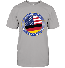 America First, Germany Second Next Level Unisex Fitted Tee / Heather Grey / S Shirts