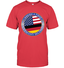 America First, Germany Second Next Level Unisex Fitted Tee / Red / S Shirts