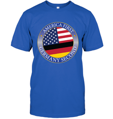 America First, Germany Second Next Level Unisex Fitted Tee / Royal / S Shirts