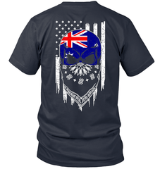 American Grown with Australia Roots Next Level Unisex Fitted Tee / Indigo / S Shirts