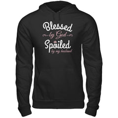 Blessed by God Spoiled by my Husband Gildan - Pullover Hoodie / Black / S Shirts