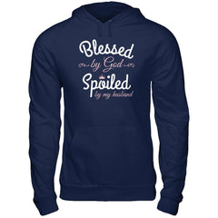 Blessed by God Spoiled by my Husband Gildan - Pullover Hoodie / Navy / S Shirts