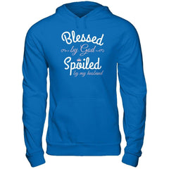 Blessed by God Spoiled by my Husband Gildan - Pullover Hoodie / Royal / S Shirts