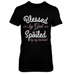 Blessed by God Spoiled by my Husband Next Level - The Boyfriend Tee / Black / XS Shirts
