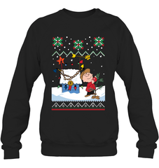 Charlie Brown X-mas Heavy Blend Crewneck Sweatshirt / Black / S Shirts