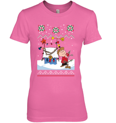Charlie Brown X-mas Next Level The Boyfriend Tee / Hot Pink / S Shirts