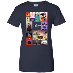 Disney Characters All In One G200L Gildan Ladies' 100% Cotton T-Shirt / Navy / X-Small Apparel