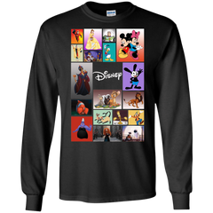 Disney Characters All In One G240 Gildan LS Ultra Cotton T-Shirt / Black / Small Apparel