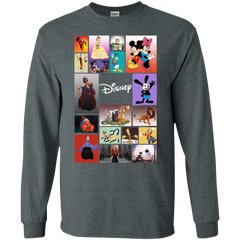 Disney Characters All In One G240 Gildan LS Ultra Cotton T-Shirt / Dark Heather / Small Apparel