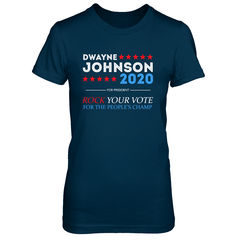 Dwayne For President 2020 Next Level The Boyfriend Tee / Midnight Navy / S Shirts