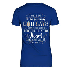 God Says I Can fill 2 Next Level - The Boyfriend Tee / Royal Blue / XS Shirts