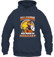 Halloqueens Are Born In February Gildan Heavy Blend Hoodie 8oz / Navy / S Shirts