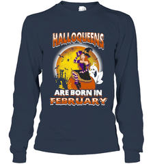 Halloqueens Are Born In February Gildan Long Sleeve T-Shirt / Navy / S Shirts